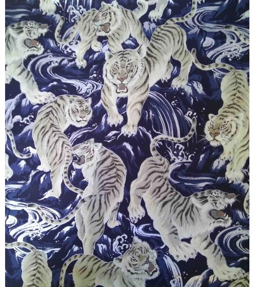 Tela japonesa. Tigres y olas sobre azul Navy.