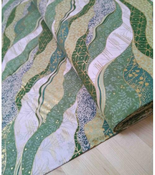 Tela japonesa. Motivo Yuzen en verdes.