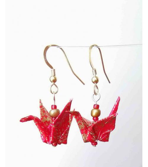Pendientes grullas origami rojo y oro. Goldfilled