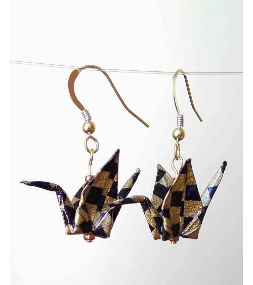 Pendientes grullas origami negro y oro. Goldfilled