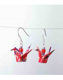 Pendientes grullas origami rojo-berenjena en plata