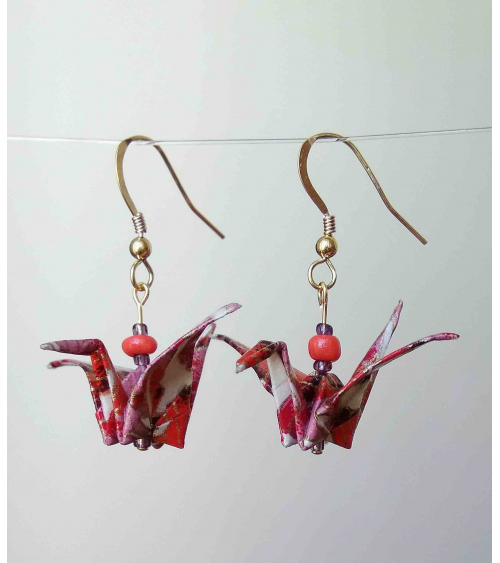 Pendientes grullas origami rojo-rosa. Goldfilled