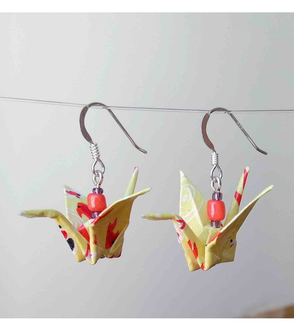 Yellow Origami Cranes Earrings Silver Japonerias