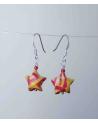 Pendientes estrellitas origami rojo y amarillo en plata