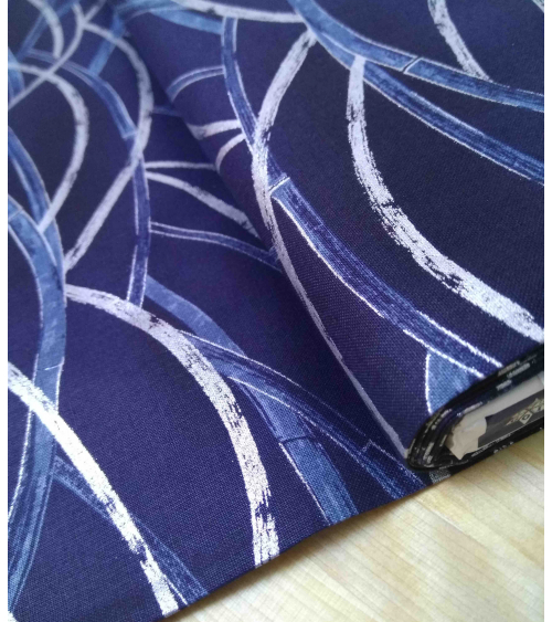 Algodón Japonés. Bambú cruzado en plata y azul.