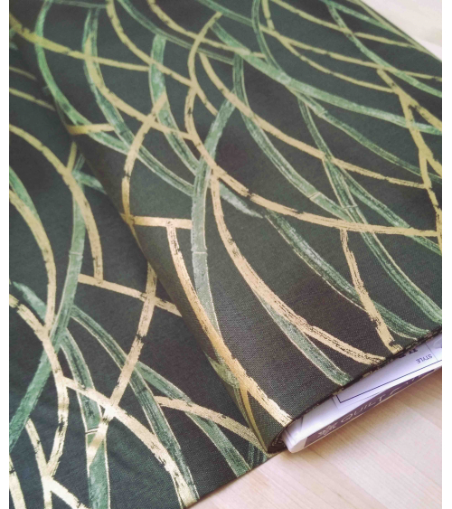Japanese fabric. Golden and green bamboo stalks over olive green.
