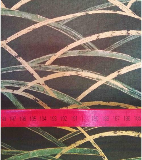 Algodón Japonés. Bambú cruzado en oro y verde.