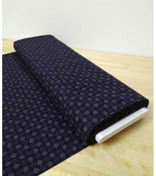 Japanese cotton fabric. Flowers over indigo blue