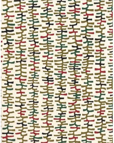 Papel Katazome con motivos gráficos multicolores. Verde