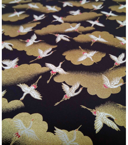Chiyogami paper with white cranes