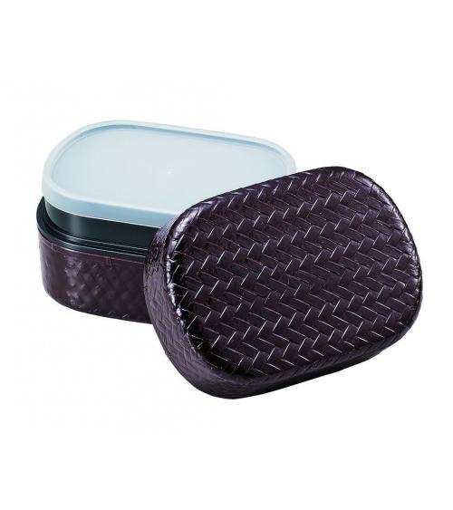 Bento box (Lunch box) rejillas marrón ovalada