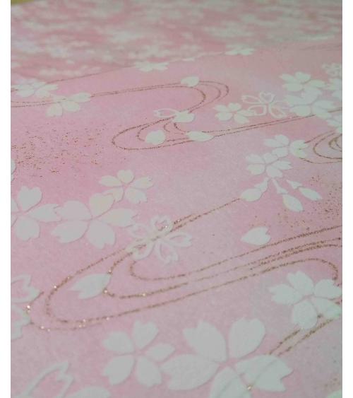 Papel chiyogami sakuras blancas en relieve sobre fondo rosa