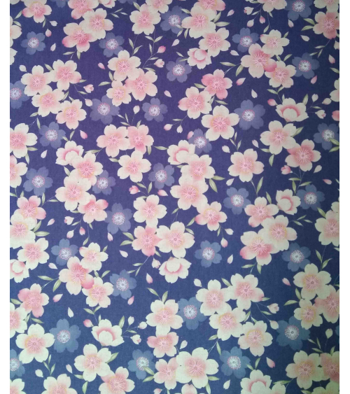 Japanese fabric. Sakura flowers over lavender background
