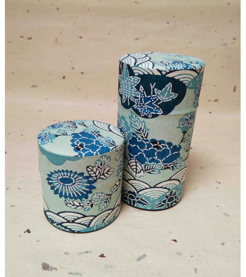 Aoi tea caddy covered in katazome Japanese paper.