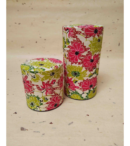 'Flowers' tea caddy covered in katazome Japanese paper.