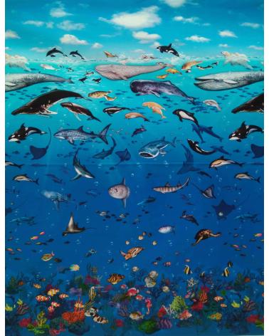 """UN PANEL-75 cm. Tela """"Mar de Japón"""""""