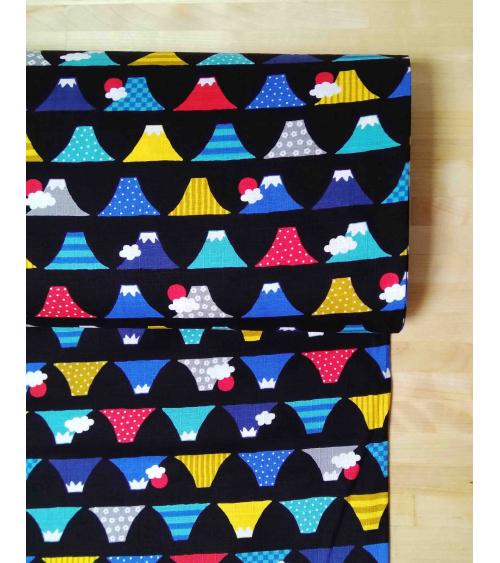 Japanese dobby fabric. Colorful Fuji-sans.