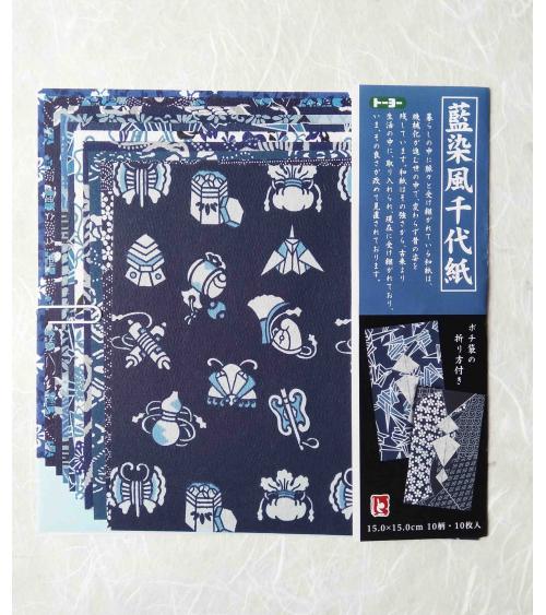 Kit papel origami Chiyogami Aizome. 15x15cm.