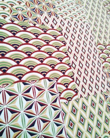 Papel japonés chiyogami yosegi tonos rojizos