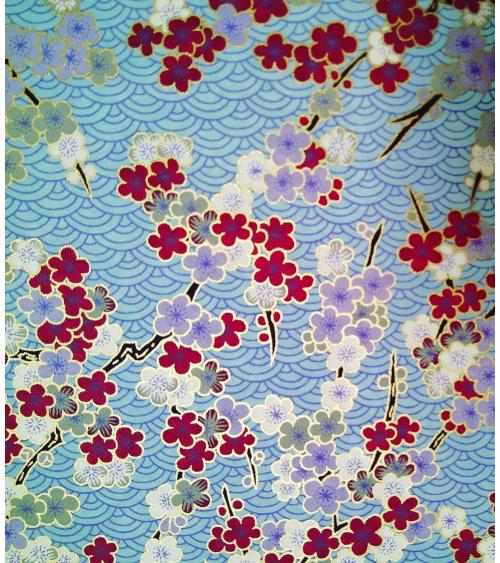 Papel Chiyogami de ume y seigaihas en azules