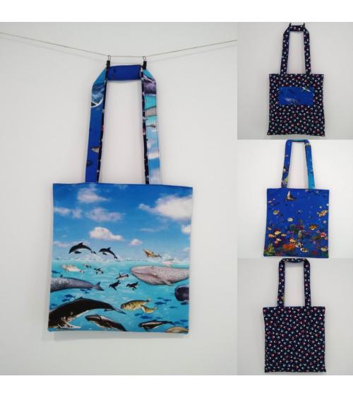 """Tote bag reversible de algodón """"Mar de Japón"""""""