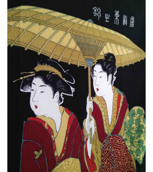 Furoshiki. Three Women with Umbrellas (68cm x 68cm)