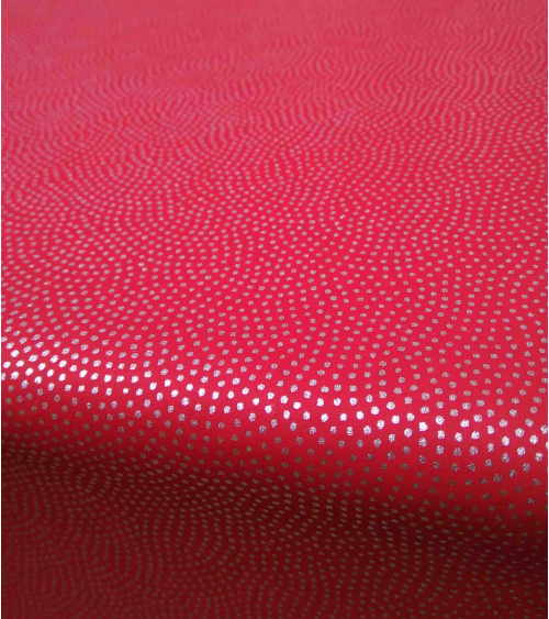 Chiyogami paper in red with silver dots waves