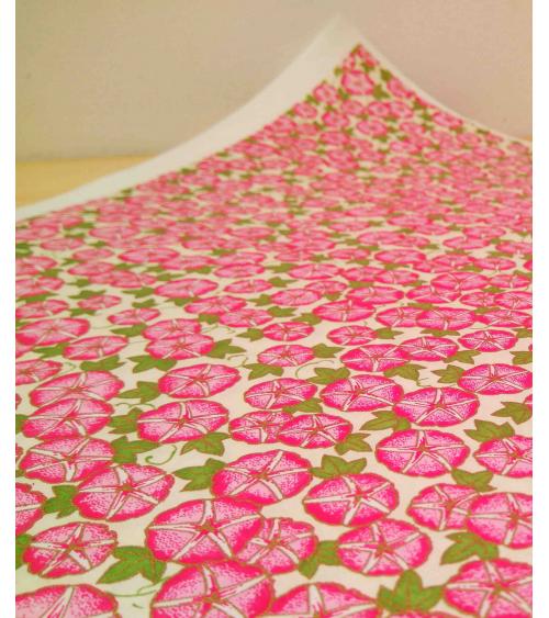 Chiyogami paper. Pink garden nasturtiums.