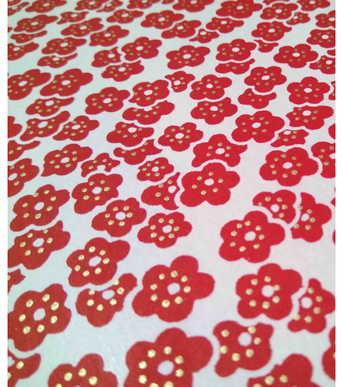 Chiyogami paper. Red plum blossoms over white