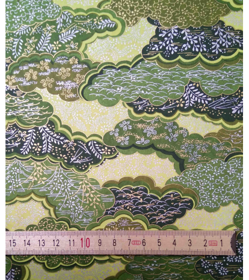 Chiyogami paper. Clouds in shades of green.
