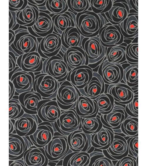 Papel Chiyogami de rosas en gris con centro rojo