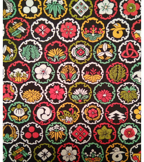 Chiyogami paper. Colorful family crests over black