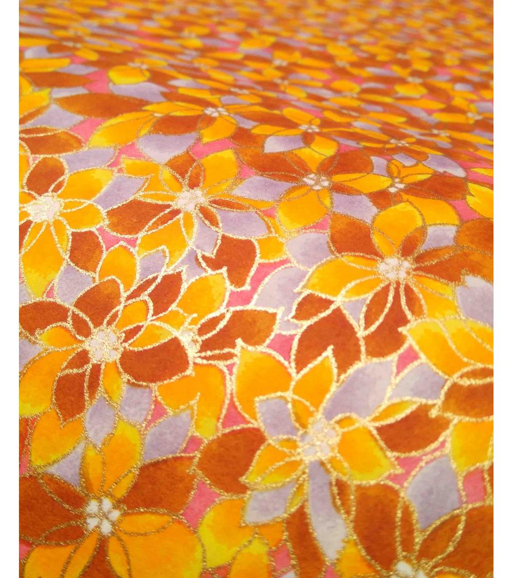 Papel Japonés Chiyogami de flores amarillas