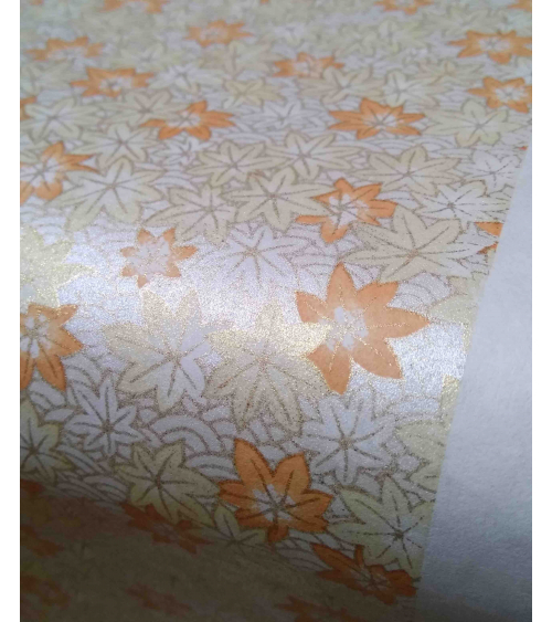 Chiyogami paper. Pearlescent maple leaves.