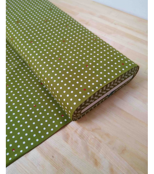 Tela japonesa de algodón. Lunares sobre verde musgo.