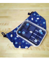 Blue bento box. Little rabbits and ume with bag.