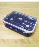 Bento box (Lunch box) ume y conejitos azul con bolsa