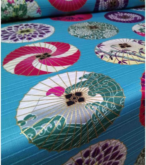 Satin de algodón Japonés. Sombrillas sobre turquesa.