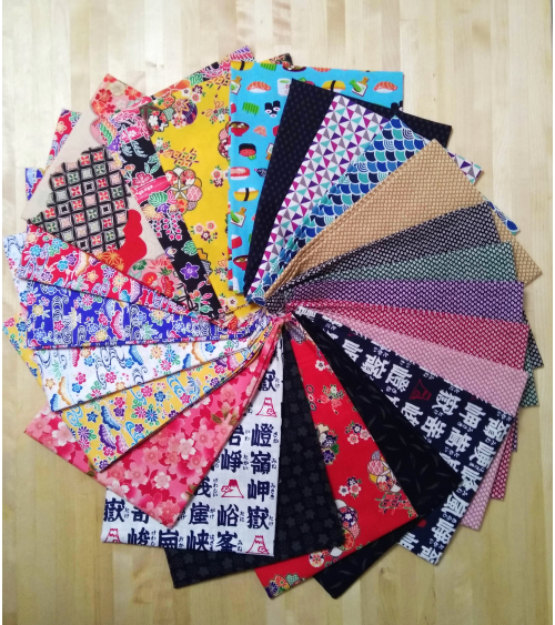 Remnants/scrap pieces of cotton Japanese fabric
