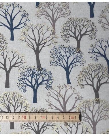 "Loneta Japonesa ""Winter forest"" en color lino."
