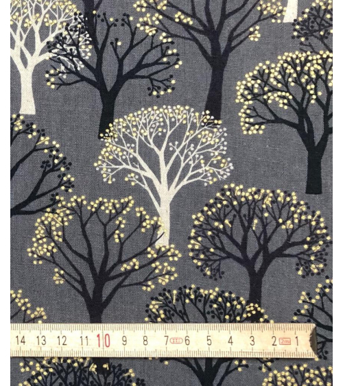 'Winter forest' Japanese canvas. Grey.
