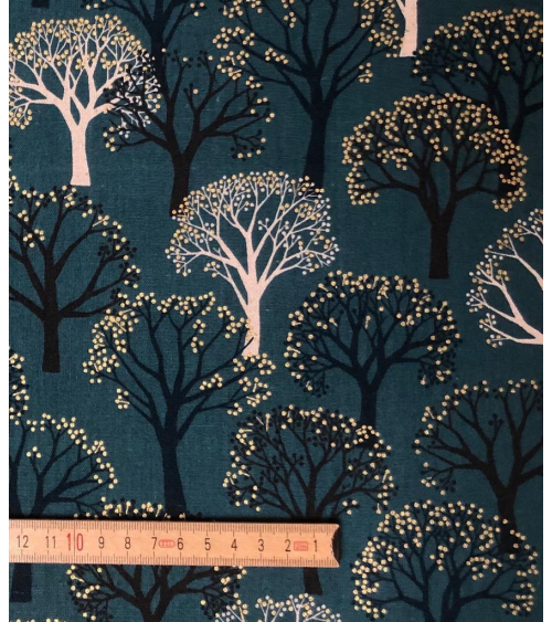 'Winter forest' Japanese canvas. Green.