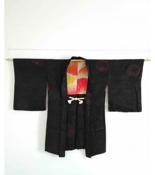 Vintage haori 'Kirin' in black damask silk.
