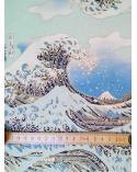 Papel chiyogami La Gran Ola en azul
