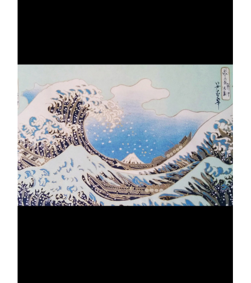 Chiyogami paper the Big Wave. Blue shades