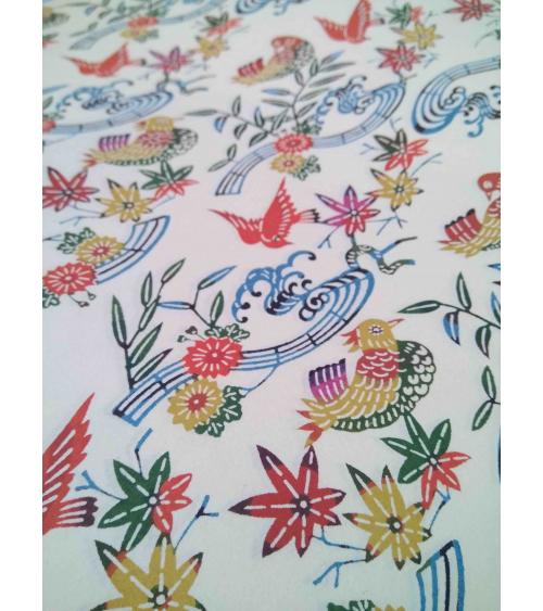 Papel Katazome multicolor con pájaros.