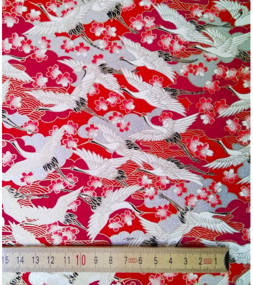 Chiyogami paper with flying cranes and sakura flowers