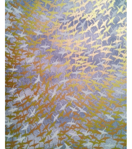Chiyogami paper with shiny flying cranes over grey