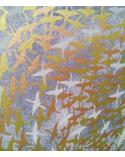 Papel Chiyogami grullas al vuelo metalizadas sobre fondo gris