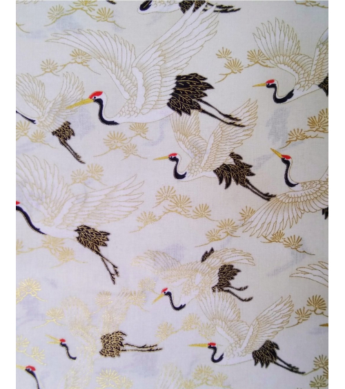Japanese fabric. Flying Cranes over ivory.